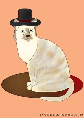 Cat with a hat on a mat